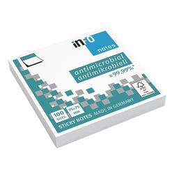 Antimikrobielle Haftnotizen 7,5 x 7,5 cm, 100 Blatt weiß, inFo