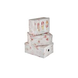 Aufbewahrungsboxen, 3er Set ¦ rosa/pink ¦ Metall, Papier ¦ Maße (cm): B: 28 H: 21,5 T: 12,5