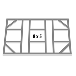 "Globel Industries Fundamentbodenrahmen für Gerätehaus ""Lean-To 58"",aluminium blank,144 x 234 cm"