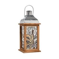 ELAMBIA LED-Kerze inkl. Holz-Laterne Metall-Blätter Timer, Höhe 40cm