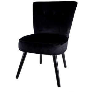 Cosy Home Ideas Cocktailsessel Sessel Samt Optik HO-760570 schwarz mit Knöpfen (1 Stück, 1x Sessel), mit edler Knopfheftung, Bezug in Samt Optik
