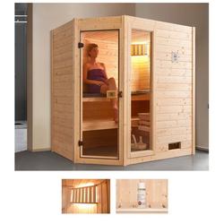 weka Sauna Valida Eck 1, BxTxH: 189 x 139 x 203,5 cm, 38 mm, 5,4 kW Ofen mit int. Steuerung, mit Fenster