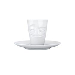 FIFTYEIGHT PRODUCTS Espressotasse Mug verschmitzt m Henkel Espresso Tasse Untertasse weiß