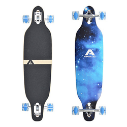 Twin Tip DT Longboard Blue Sky - LED Wheels schwarz/blau
