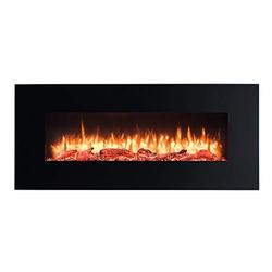 RICHEN Elektrokamin Vanadis, RICHEN Elektrokamin Vanadis - Wandkamin mit Heizung, 3D-Flammeneffekt & Fernbedienung - Schwarz, 550 x 1280 x 139