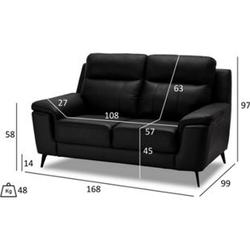 Haya Kunstleder Sofa 2 Personen schwarz Wohnlandschaft Couch Sofa Garnitur