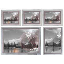 MCW Bilderrahmen Bilderrahmen Set H246, (Set), Für Quer- und Hochformat, Mit Seidenband, Mit 2 mm Glasplatte weiß