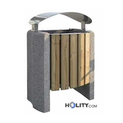 Stand-Abfallbehälter mit Holzverkleidung h10967
