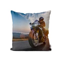Kissenbezug, VOID (1 Stück), Motorrad Tour Kissenbezug Bike Biker Motor Rad Strasse Motorsport Sport Ausflug 40 cm x 40 cm