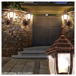 etc-shop LED Laterne, Design 3er Set Wand Außen Leuchten Laterne Terrassen Park Hof Lampen 1-flg E27