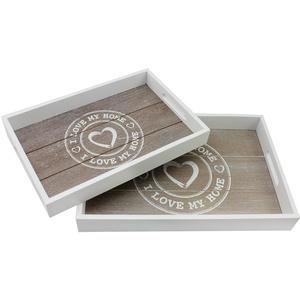 com-four® 2X Tablett aus Holz - Holztablett rechteckig mit Motiv I Love My Home in verschiedenen Größen - Serviertablett mit Tragegriffen (02 Stück - I Love My Home)