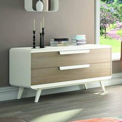 Schlafzimmer Sideboard in Weiß Eiche furniert 130 cm breit