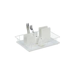 relaxdays Geschirrständer Abtropfgestell mit Auffangschale weiß