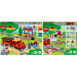 Bundle LEGO® DUPLO® 10874 Dampfeisenbahn + 10882 Eisenbahn Schienen