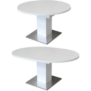 Esstisch Prowler Küchentisch Tisch rund weiß matt mit Synchronauszug 120-160 cm