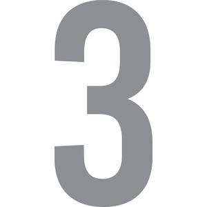 ShirtInStyle Zahlen selbsklebende Aufkleber, von 2-20cm Höhe, Mülltone, Haustür, Basteln, Boote, Nummern, Kennzeichen, Ziffer 3-2cm, silber