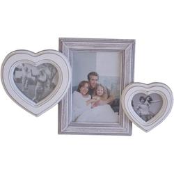 elbmöbel Bilderrahmen Bilderrahmen 3er HERZ weiß grau, für 3 Bilder, Wechselrahmen: 3er Herz 33x26x3 cm weiß antik