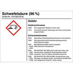 Gefahrstoffetikett G019 Schwefelsäure (96%) Folie selbstklebend (B x H) 105mm x 74mm 1St.