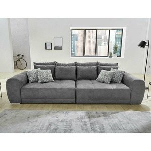 Bigsofa Megasofa Xxl Sofa Moldau Couch In Microfaser Dunkelgrau Federkern Kissen