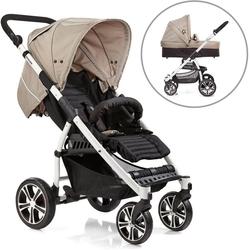 Gesslein Kombi-Kinderwagen S4 Air+, Weiß/Camel & Babywanne C3 Camel/Black, ; Kinderwagen