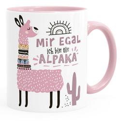 SpecialMe Tasse Kaffeetasse Spruch Mir egal ich bin ein Alpaka - Alpaka-Motiv Lama Geschenk Alpaka-Liebhaber Bürotasse SpecialMe® rosa