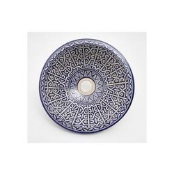 Casa Moro Waschbecken Mediterranes Keramik-Waschbecken Fes86 Ø 35 cm blau weiß rund, Marokkanisches Aufsatzwaschbecken handbemalt Handwaschbecken für Küche Badezimmer Gäste-Bad Einfach schöner Wohnen, WB35286, Handmade