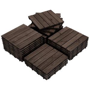 Yaheetech Holzfliesen, 27 Stück 30x30 cm Bodenbelag aus Tannenholz, Bodenfliesen für Terrassen und Balkon, Balkonfliesen Terrassefliese Klickfliesen, 5 Latten Fliese, wetterfest, schwarz schwarz