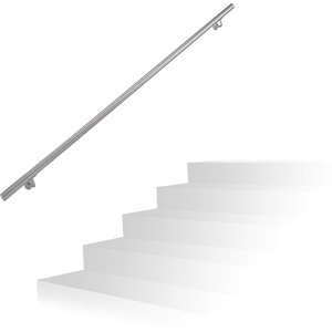 Relaxdays Handlauf, 201er Edelstahl, matt, rundes Treppengeländer, innen & außen, 200 cm, Ø 38 mm, mit Halterung, silber