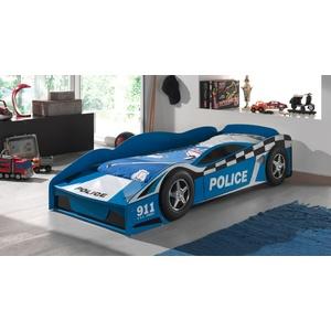Blaues Autobett mit Stauraumfach und Rollrost 70x140 cm - Blue Light