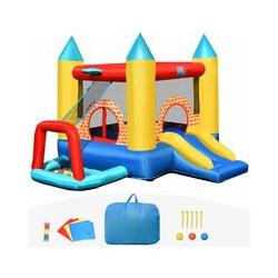 GOPLUS Ch?teau Gonflable avec Toboggan et Piscine,Aire de Jeu pour 3 Enfants de 3 à 10 Ans, en