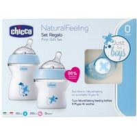 chicco NaturalFeeling Geschenkset mit 2 Babyflaschen + Schnuller 0m+ blau
