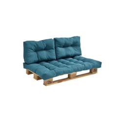 en.casa Bankauflage, Euro Palettenkissen Auflage Comfy blau 80 cm x 120 cm x 12 cm