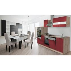 Küchenzeile Anna, mit E-Geräten, Breite 280 cm, mit Edelstahl-Kochmulde rot