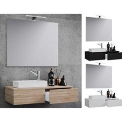 VCM Waschplatz Waschbecken Schrank + Spiegel WC Gäste Toilette Waschtisch klein schmal