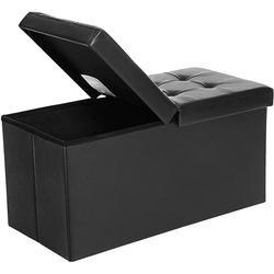 SONGMICS Sitzbank LSF45WT LSF45BK, 80 L Sitzbank Sitzhocker, schwarz schwarz