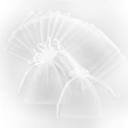 10 x Organzasäckchen Organzabeutel Schmuckbeutel Säckchen Organza - weiß