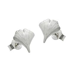 Gallay Paar Ohrstecker Stecker 9mm Ginkgoblatt matt Silber 925 (inkl. Schmuckbox), Silberschmuck für Damen