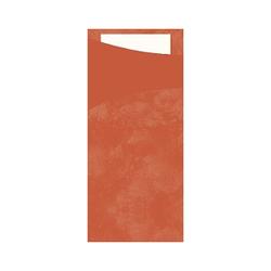 DUNI Sacchetto Serviettentaschen, Tissue, Praktische Bestecktasche, 1 Karton = 5 x 100 Stück, Farbe: mandarin