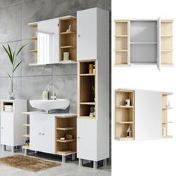 Vicco Spiegelschrank Aquis Spiegel Badspiegel Wandspiegel Bad Eiche  Weiß