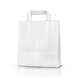 1-PACK Papiertragetaschen aus Kraftpapier, 220+100x280mm, weiß 70 gr.
