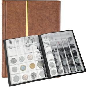 SAVITA 250 Taschen Münzalbum 10 Seiten Ledermünzen Sammelbuch Penny Sammelbuch Für Münzsammler (Braun)