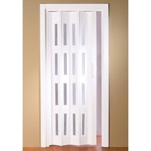 Kunststoff-Falttür Luciana, BxH: bis 88,5x202 cm, kürzbar, Fenster mit Riffelstruktur weiß