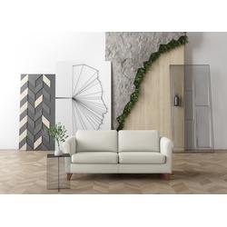 machalke® 2,5-Sitzer amadeo, Ledersofa mit geschwungenen Armlehnen, Breite 198 cm weiß