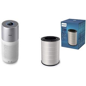 Philips AC3036/10 Luftreiniger Connected 3000I (für Allergiker und Raucher, bis zu 104M2, Cadr 400M3/H, Aerasense-Sensor, mit App-Steuerung) weiß/silber mit Ersatzfilter FY3430/30