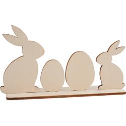 VBS Dekofigur Sitzende Hasen mit Eiern, 5 Teile