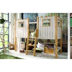 Infanskids Infantil halbhohes Abenteuerbett Ritterburg 90 x 200 cm Kiefer massiv weiß Spielbett