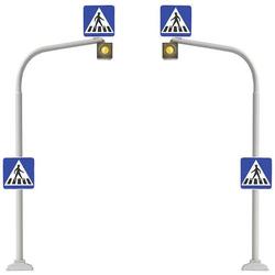 Busch 5916 H0 2er Set Fußgängerampeln inkl. Zebrastreifen zum Aufreiben Bausatz