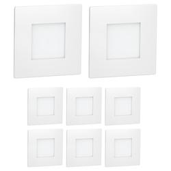LED Treppen-Licht FEX Treppen-Leuchte, weiß, eckig, 8,5x8,5cm, 230V, rot, 8 Stk.