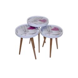 moebel17 Beistelltisch Beistelltisch Kaffe Set 3 er Set 3D mit Glas Rund