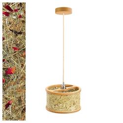 Almut-Leuchten Pendelleuchte Holz mit Heuschirm rot Ø 25 cm x 27 cm